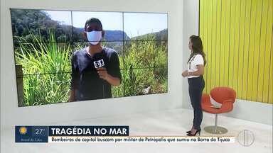Bombeiros da capital buscam por militar de Petrópolis que sumiu no mar da Barra da Tijuca - Militar petropolitano teria se afogado na madrugada deste domingo (06).