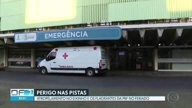 Mãe e filha atropeladas no Eixinho - As duas foram levadas, com ferimentos, para o Hospital de Base, mas já estão em casa.