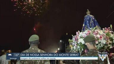 Missas com distanciamento marcam dia de Nossa Senhora do Monte Serrat em Santos - Imagem da Padroeira da cidade retornou ao santuário do Monte Serrat, neste domingo (8), em procissão.