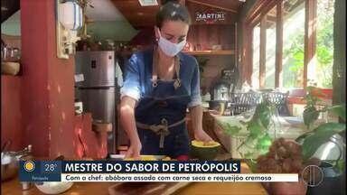 Petropolitana que participou do 'Mestre do Sabor' prepara prato especial para o RJ1 - Lydia Gonzales ensinou como fazer uma abóbora assada com carne seca e requeijão.
