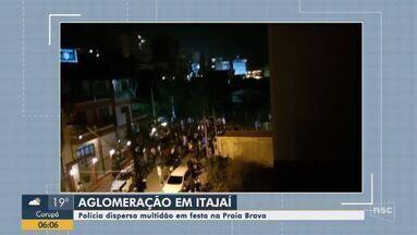 Praias em Itajaí tem movimento mesmo com pandemia; polícia dispersa multidão em festa - Praias em Itajaí tem movimento mesmo com pandemia; polícia dispersa multidão em festa