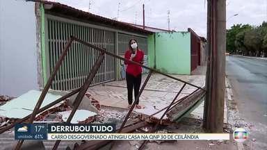 Carro desgovernado atinge casa em Ceilândia - O carro atingiu uma casa na QNP 30, no P Sul.