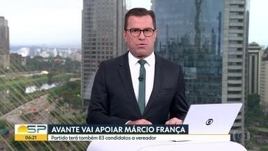 Partido Avante decide apoiar Márcio França - 83 candidatos concorrerão a vagas na Câmara dos Vereadores da Capital.