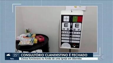 Consultório oftalmológico que operava de forma clandestina é fechado em Uberaba - Foram apreendidos diversos produtos e equipamentos no local. A ação foi realizada pela Vigilância Sanitária e pelo Procon, em parceria com a Polícia Militar (PM).