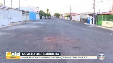 Novacap promete intensificar ações para tapar buracos - Moradores do DF continuam reclamando de buracos nas ruas. A Novacap disse que comprou 37 máquinas para asfaltar todo o DF.