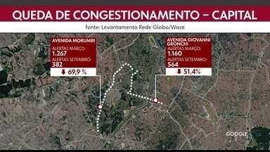Trânsito cai no período da manhã em São Paulo - Capital registrou queda no número de alertas de congestionamento nas grandes avenidas