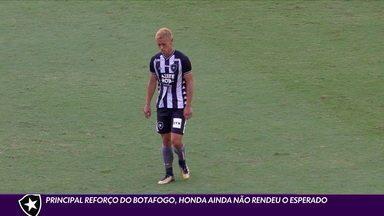 Principal reforço do Botafogo, Honda ainda não rendeu o esperado - Principal reforço do Botafogo, Honda ainda não rendeu o esperado