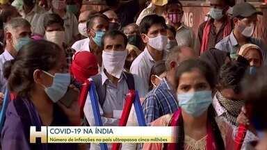 Índia ultrapassa 5 milhões de casos de Covid-19 - Casos diários de coronavírus têm ultrapassado os 90.000. Mais de 80.000 pessoas morreram até agora na Índia.