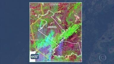 Imagens de satélites mostram o avanço das queimadas em áreas de preservação em Mato Grosso - Segundo estimativa do Ibama, o Pantanal já teve 20% da área atingida por queimadas neste ano. Isso equivale a dez vezes as cidades de São Paulo, Rio de Janeiro e Belo Horizonte juntas.