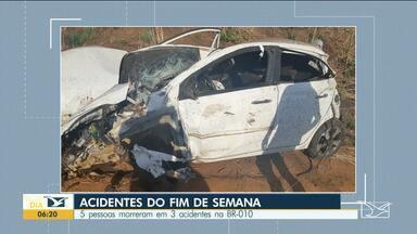 Cinco pessoas morreram em três acidentes na BR-010 - Dois acidentes aconteceram na cidade de campestre do maranhão e outro na cidade de Carolina.