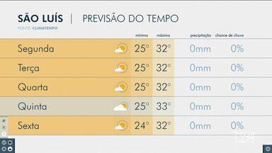 Veja a previsão do tempo para esta semana no Maranhão - Segundo a meteorologia, não há previsão de chuva para São Luís.