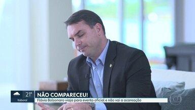 Flávio Bolsonaro não comparece à acareação sobre suposto vazamento de operação da PF - Os advogados do senador justificaram a ausência por escrito ao Ministério Público Federal dizendo que o parlamentar estava em uma agenda oficial em Brasília.