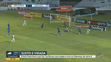 Ponte Preta vence o Confiança de virada e cola na ponta da Série B - Em segundo tempo com três gols, Ítalo colocou sergipanos na frente, mas Luan, contra, e Bruno Rodrigues, através de cobrança de falta, deram a vitória para a Macaca em Campinas.