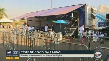 Carreta itinerante realiza testagem de Covid-19 em Araras - Veículo está no Parque Ecológico nesta segunda-feira (28).