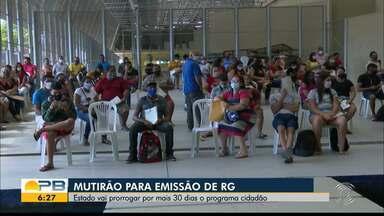 Estado vai prorrogar por 30 dias o mutirão de emissão de RG, em João Pessoa - Demanda reprimida fez aglomerar primeiros dias de mutirão