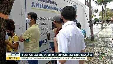Profissionais da rede estadual de educação começam a ser testados - Saiba mais em g1.com.br/ce