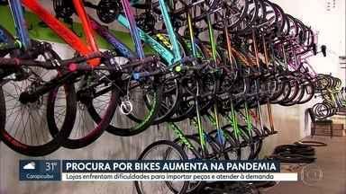 Procura por bicicletas aumentou durante a pandemia - Lojas especializadas registraram aumento nas vendas e nas manutenções. Ao mesmo tempo, comércio enfrenta dificuldades para importar peças das bicicletas.