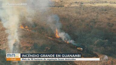 Queimadas destroem mais de 90 hectares de vegetação em Guanambi, na região sudoeste - Em três dias, 159 novos focos de incêndio foram registrados em território baiano.