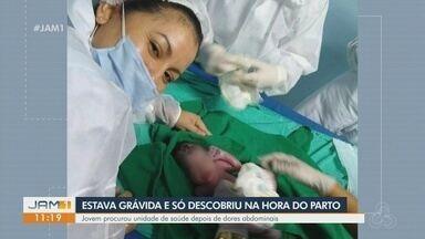 Em Manaus, jovem descobre gravidez na hora do parto - Mulher procurou unidade de saúde depois de sentir dores abdominais.