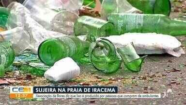 Abrasel diz que sujeira na Praia de Iracema é produzida por clientes de ambulantes - Saiba mais em g1.com.br/ce