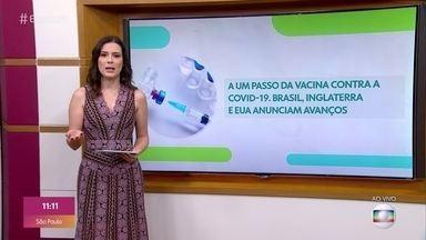 Covid-19: Governo de SP anuncia acordo com China para começar a vacina este ano - São Paulo diz que em dezembro já começa a vacinar a população com a vacina da China. Vacina da Moderna não provoca reações graves nos idosos. E a vacina da Oxford inicia o processo de aprovação pela União Europeia.
