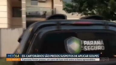 Ex-cartorários são presos suspeitos de aplicar golpes - 5 pessoas foram presas e um carro de luxo está entre os bens apreendidos.