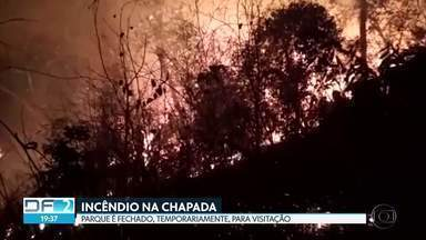 Parque Nacional da Chapada dos Veadeiros é fechado para visitação - Segundo os administradores do parque, a medida foi tomada depois que um incêndio destruiu boa parte da vegetação e atingiu pontes e casas da região. Bombeiros, brigadistas e voluntários tentam conter o fogo desde segunda-feira.