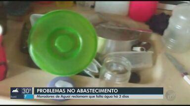 Moradores de Aguaí reclamam da falta d'água que dura 3 dias - Cidade está sob racionamento, mas água deveria ser suspensa em dias alternados.