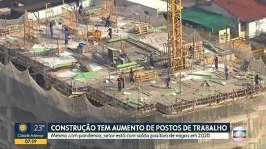 Construção civil é um dos únicos setores que está com saldo positivo de postos de trabalho - Balanço de janeiro a agosto de 2020 mostra que foram criadas 9.793 vagas, mesmo com pandemia e quarentena.