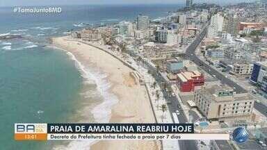 Praias de Cantagalo, Boa Viagem e Amaralina voltam a ser abertas em Salvador - Confira imagens da orla da capital no começo da tarde desta quarta (7).