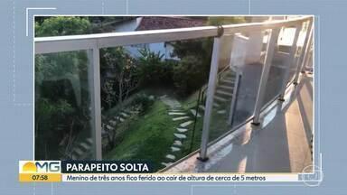 Vidro solta de parapeito e criança cai de altura aproximada de cinco metros, em Nova Lima - Veja também o flagrante de uma mulher limpando janela no Buritis, em Belo Horizonte.