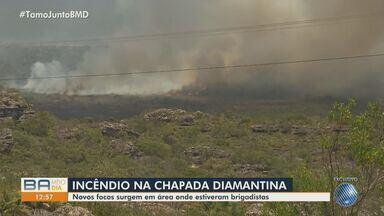 Brigadistas e bombeiros lutam para controlar queimadas na região da Chapada Diamantina - O fogo já causou destruição em uma área de 500 hectares de vegetação.