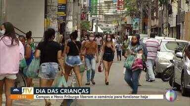 Campos e Nova Friburgo liberam comércio para funcionar neste sábado véspera de feriado - Dia das crianças é comemorado nesta segunda-feira (12).