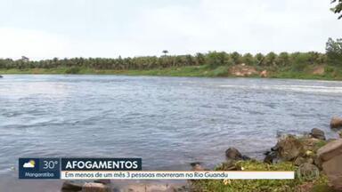 Três pessoas morreram no Rio Guandu em menos de um mês - Mesmo com o perigo, muita gente continua se arriscando.