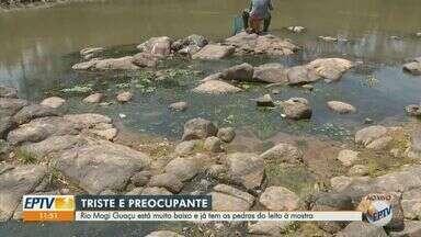 Nível do Rio Mogi Guaçu baixa e manancial já tem pedras à mostra - Represa responsável pelo abastecimento dos moradores capta água do rio e está com 64% da capacidade.