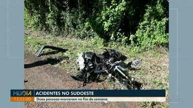 Duas pessoas morreram em acidentes no sudoeste neste fim de semana - Um acidente foi na BR-158 e o outro acidente foi em um estrada rural de São João.