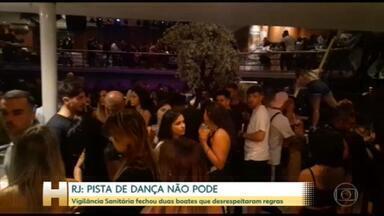 Prefeitura do Rio interdita casas de festa na Barra com pistas de dança - Pelas regras de flexibilização, as casas noturnas podem abrir, com lugar marcado, sem aglomeração nem espaço para dançar.