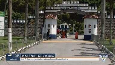Presidente Jair Bolsonaro passa feriado no Forte dos Andradas em Guarujá - Ele está desde sexta hospedado no Forte.