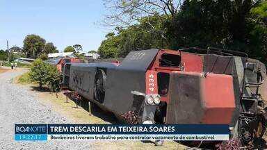 Trem descarrila em Teixeira Soares - Bombeiros tiveram trabalho para controlar vazamento de combustível.