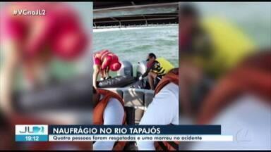 Quatro pessoas são resgatadas e uma morre em naufrágio no oeste do Pará - Quatro pessoas são resgatadas e uma morre em naufrágio no oeste do Pará