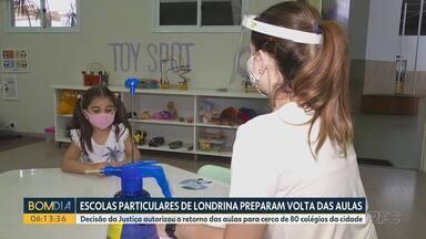 Escolas particulares de Londrina se preparam para a volta das aulas presenciais - Decisão da Justiça autorizou o retorno das aulas para cerca de 80 colégios da cidade.