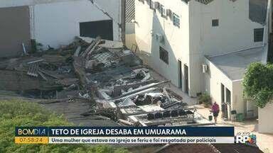 Teto de igreja desaba no noroeste - Uma mulher que estava na igreja se feriu e foi resgatada pelos bombeiros.
