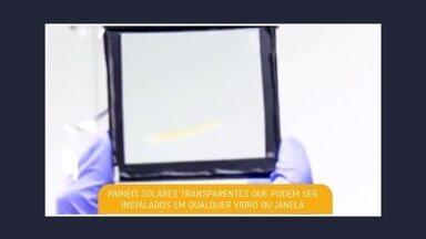 Pesquisadores desenvolvem painéis solares totalmente transparentes - Com eles, é possível colher energia solar sem afetar a passagem da luz. A criação é de pesquisadores da Universidade Estadual do Michigan, nos Estados Unidos.