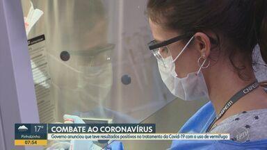 Governo anuncia resultados positivos com vermífugo no combate ao coronavírus - Um estudo clínico com o medicamento nitazoxanida realizado com 1,5 mil voluntários mostrou eficácia no tratamento precoce da doença.
