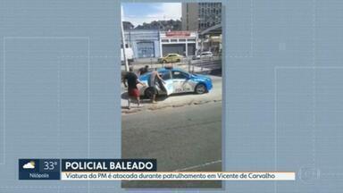 Viatura da PM é atacada durante patrulhamento em Vicente de Carvalho - É grave o estado de saúde do PM atingido na cabeça.