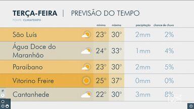 Veja as variações das temperaturas no Maranhão - Confira a previsão do tempo nesta terça-feira (20) em São Luís e também no interior do estado.