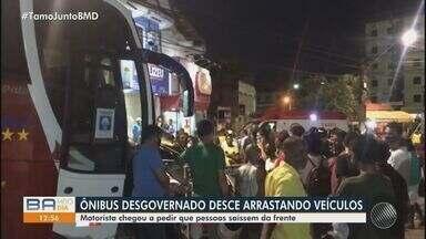 Acidente grave deixa pelo menos sete pessoas feridas na cidade de Candeias - O motorista de um ônibus perdeu o controle da direção em uma ladeira e atingiu outros veículos.