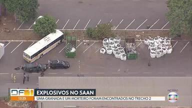 Explosivos são encontrados em cooperativa de recicláveis no SAAN - Bombeiros abriram buraco no solo para explodir os artefatos. O Esquadrão de Bombas da PM também foi ao local.
