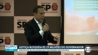 Justiça bloqueia bens e dinheiro do governador de São Paulo João Doria, do PSDB - João Doria é reu numa ação por atos no período em que era prefeito da capital paulista. A defesa informou que está recorrendo da decisão