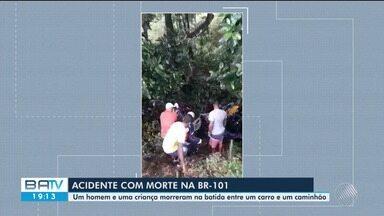 Duas pessoas morrem e três ficam feridas em acidente na BR-101, perto de Uruçuca - Caso aconteceu nesta terça-feira (20), quando um carro bateu de frente com um caminhão.